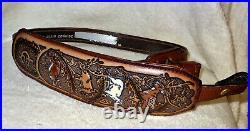 NOS Vintage Elk/Doe/Moose Scene Rifle/Shotgun Gun Sling Padded Signed Top Grain