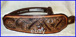 NOS Vintage Turkey/Deer Scene Rifle/Shotgun Gun Sling Padded Signed Top Grain