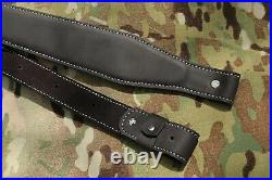 Padded Genuine Leather Rifle Sling Strap for shotguns adjustable 27-39 inches