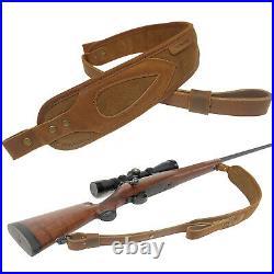 Padded Leather Rifle Sling Vintage Stitched Soft Anti Slip Gun Shoulder Straps