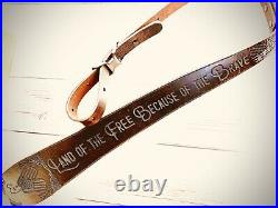 Personalized Veterans Leather Rifle Sling American Flag Patriotic Military