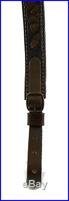Premium Quality Genuine Leather Rifle Shotgun Ammo Sling Shoulder Strap Hunting