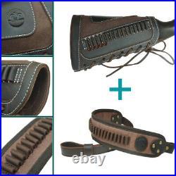 Real Leather Gun Shell Holder Buttstock +Shoulder Sling For. 22 LR. 17HMR. 22MAG
