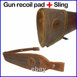 Real Leather Recoil Pad Buttstock and Matching Gun Sling for any Rifle Shotguns