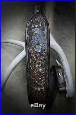 Rifle Sling, Brown Leather, Hand Carved, Gator Made by Seelye Leather Works