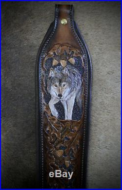 Rifle Sling, Brown Leather, Hand Carved, Timber Wolf made in the USA