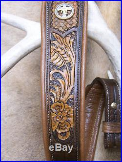 Rifle Sling, Brown Leather, Hand tooled, Made in the USA, Praying Cowboy