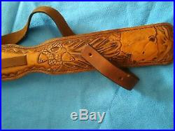 Rifle Sling, Leather, Leaping Bear Scene, Handcrafted, Padded, Adjustable