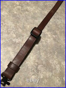 Savage logo brown adjustable leather rifle sling with QD swivels