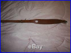 Sporting Rifle Sling Bianchi #73 Cobra Grande Padded Leather Hand Tooled Brass