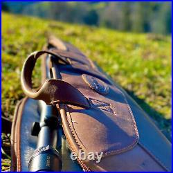Tourbon Leather Rifle Soft Cases Shot Gun Scoped Sling Bag Safe Carrying Storage