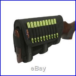 Tourbon Rifle Cheek Riser Rest Ammo Holder+Leather Shot Gun Sling Swivels Strap