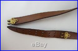 US Army Leather Rifle Sling with Brass Buckles, Vintage Antique WWI Indian War