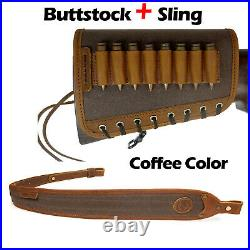 US Classic Real Leather Rifle Sling with Matched Gun Buttstock Ammo Holder