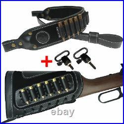 USA 1 Set Rifle Buttstock Shell Holder + Gun Sling Strap For. 270, 30.06, 30-30