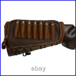 USA Canvas Leather Rifle Cartridge Buttstock + Sling Strap For 308 30-06. 45-70