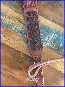 Vintage 1970's Brown Leather Rifle Sling Stamped with Buck Deer