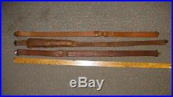 Vintage Adjustable Leather Brass Rifle Shotgun SLING with Swivels lot of 3 nice