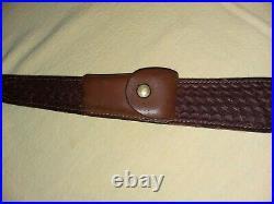 Vintage Bianchi Cobra Sling Patented Basket Weave Leather Rifle Sling Swivels