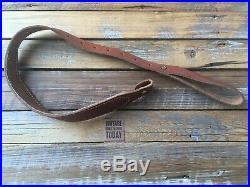 Vintage Brown Basket Stamped Suede Lined Cobra Style Adjustable Rifle Sling