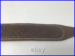 Vintage George Lawrence Tooled Leather Rifle Gun Sling 2F Free Ship 2 1/4