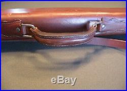 Vintage Leather Rifle Case. Fishing Rod Case. Green Felt Lined. New Sling. Nice