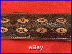 Vintage Leather Rifle Sling PATHFINDER Adjustable Rifle Sling Leather CB366P USA