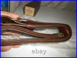 Vintage Oiled Leather Rifle Gun Sling 1-1/4 Wide in original box USA made