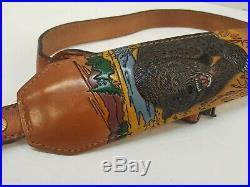Vintage TOREL Rifle Sling #4753 Embossed Bear Motif Leather Cowhide Padded