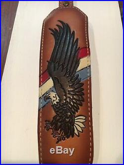 Vintage TOREL Rifle Sling #4852 USA Eagle Scene Tooled Leather Cowhide Padded