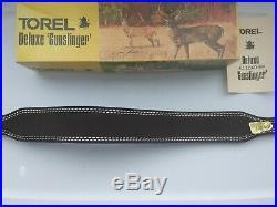 Vintage Torel #4882 Brown Leather Suede Rifle Sling Original Box USA #4882 Nice