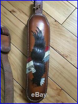 Vintage Torel Bald Eagle Leather Padded Sling #4825 Top Grain Cowhide-usa-used