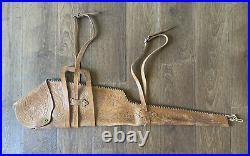 Vtg Hand Tooled Leather RIFLE CASE Saddle SCABBARD Sling Straps Antique Western