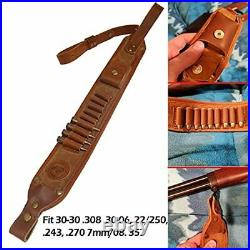 WAYNE'S DOG Leather Gun Shell Holder Buttstock with Matched Rifle Sling for. 30