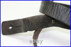 WWI Italian Vettereli Leather rifle sling buckle & button 45.5L x 1 1/8W E8829