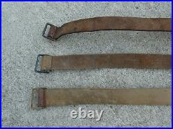 WWI WWII Lot 4 French Leather Rifle Sling LEBEL BERTHIER MAS Metal Buckle