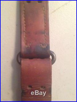 WWII US M1907 Leather Sling M1903 Springfield M1 Garand Rifle Marked Milsco 1944