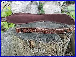 Western Style Embossed Brown Leather Rifle Sling