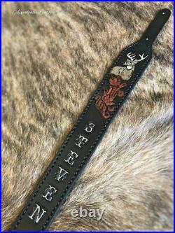 Whitetail Deer & Maple Custom Leather Gun Sling (BLACK) Handmade Hand Tooled R